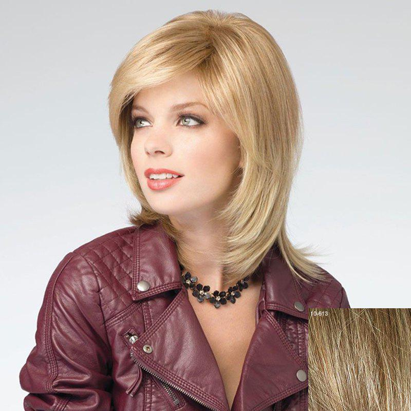 Stunning Side Bang Natural Straight Assorted Color Vogue Medium Capless Human Hair Wig For Women - LIGHT CHOCOLATE