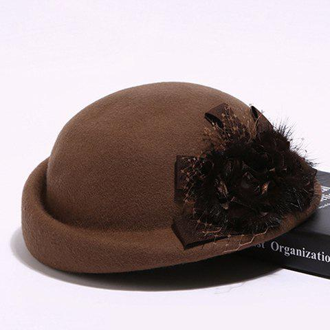 Chic Handmade Flower and Mesh Embellished Women's Felt Beret - CAMEL