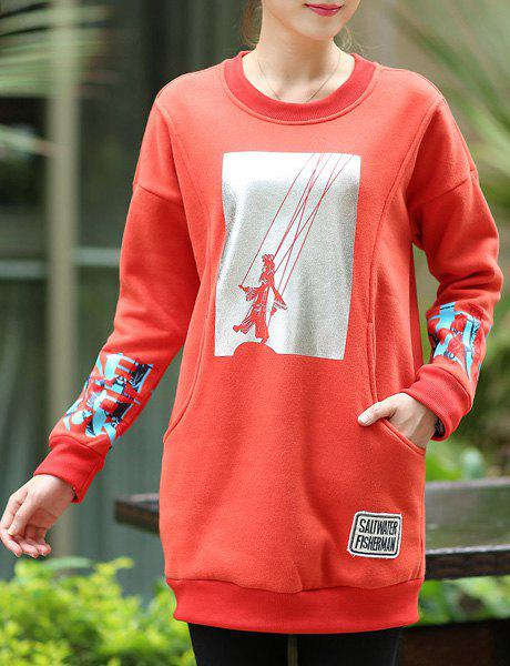 Preppy Style Color Block Printed Long Pullover Sweatshirt For Women - JACINTH 3XL