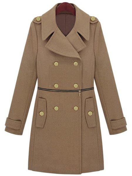 Fashionable Solid Color Turn-Down Collar Waist Zippered Peacoat For Women - L CAMEL