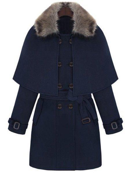 Graceful Convertible Solid Color Cape Peacoat For Women - PURPLISH BLUE XL