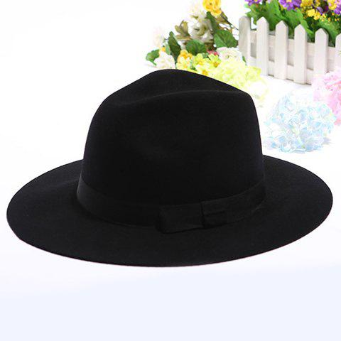 Chic Bow Cloth Strappy Embellished Women's Felt Boho Floppy Hat - COLOR ASSORTED