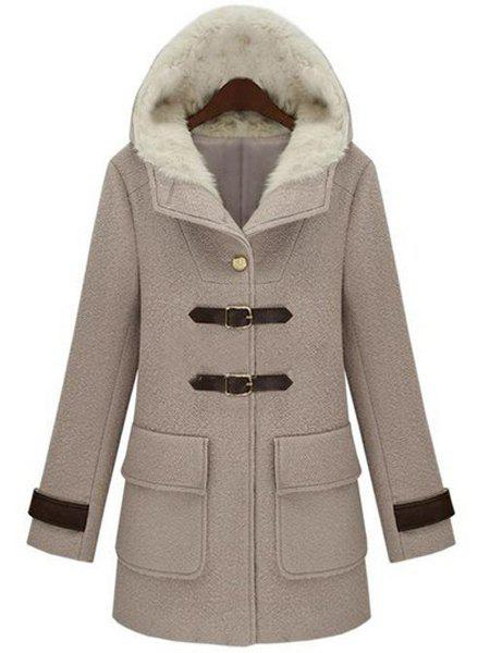 Fresh Style Thick Hooded Faux Leather Buckle Fleece Wool Coat For Women - GRAY L