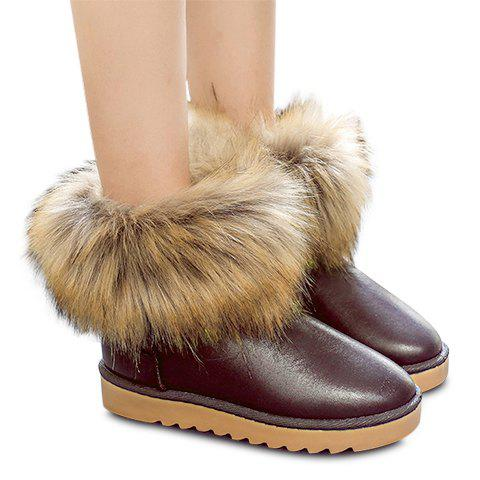Gorgeous Solid Color and Faux Fur Design Snow Boots For Women - BROWN 39