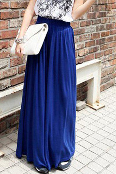 Chic Loose Pure Color High Waist Palazzo Pants For Women - BLUE ONE SIZE(FIT SIZE XS TO M)