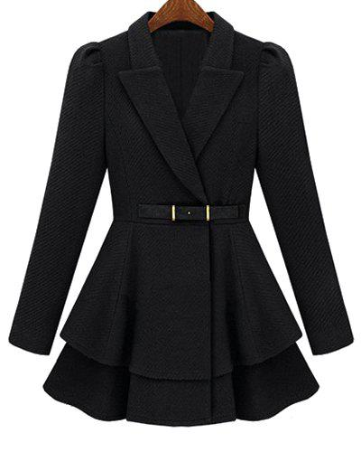 Sweet Solid Color Lapel Faux Belt Design Layered Flounce Wool Coat For Women - BLACK S