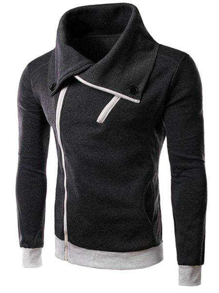 Zipper Design Turn-Down Collar Long Sleeve Button-Down Thicken Men's Sweatshirt - DEEP GRAY L