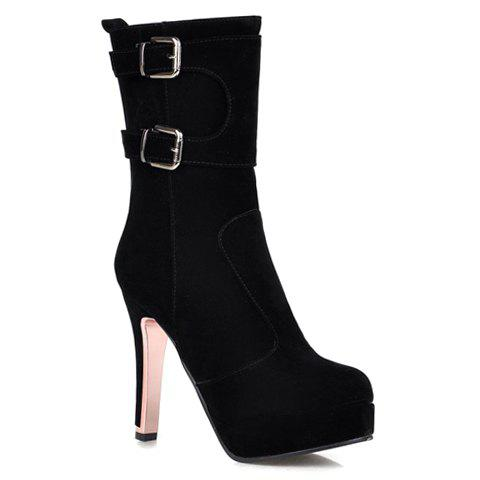 Fashion Buckles and Zipper Design High Heel Boots For Women - BLACK 37