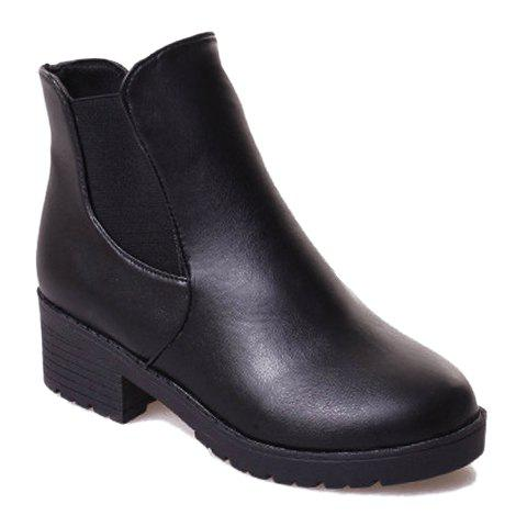 Concise Elastic and Black Design Women's Ankle Boots