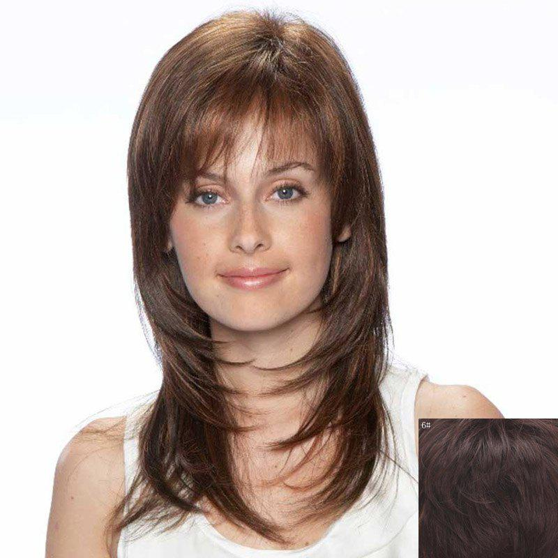 Fluffy Natural Straight Ladylike Long Layered Vogue Side Bang Capless Women's Human Hair Wig - BLACK BROWN MIXED