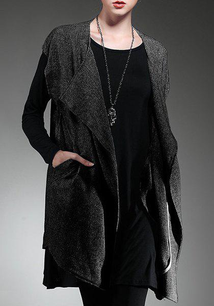 Chic Turn-Down Neck Short Sleeve Pure Color Loose-Fitting Women's Cardigan - BLACK ONE SIZE(FIT SIZE XS TO M)