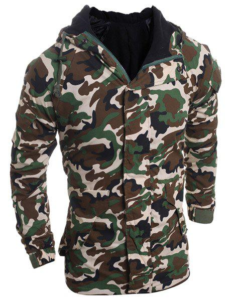 Camouflage Pattern Hooded Long Sleeve Thicken Men's Zip-Up Jacket - ARMY GREEN M