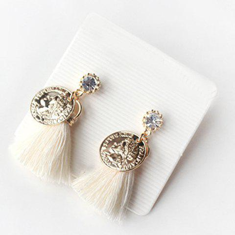 Pair of Vintage Coin Shape Tassel Earrings For Women