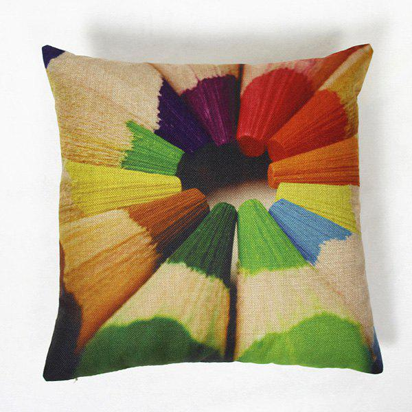 Modern Linen Pencils Pattern Square Decorative Pillowcase(Without Pillow Inner) - COLORMIX