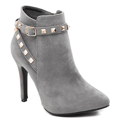 Stylish Cross Straps and Rivets Design High Heel Boots For Women - GRAY 39