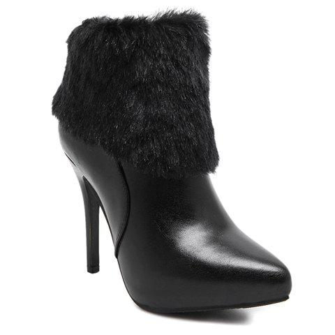 Fashion Black and Faux Fur Design High Heel Boots For Women - BLACK 37