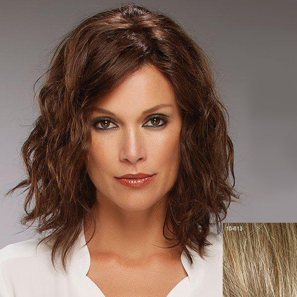 Vogue Shaggy Curly Side Bang Attractive Medium Capless Human Hair Wig For Women - LIGHT CHOCOLATE