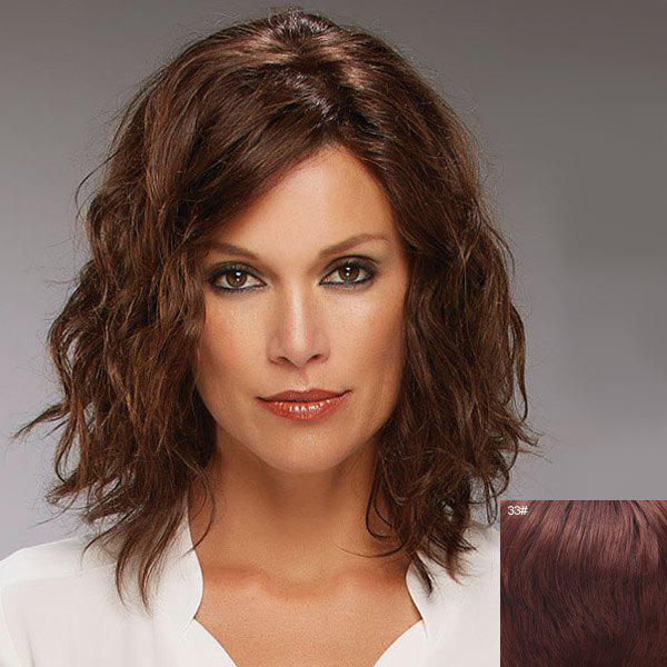 Vogue Shaggy Curly Side Bang Attractive Medium Capless Human Hair Wig For Women - DARK AUBURN BROWN