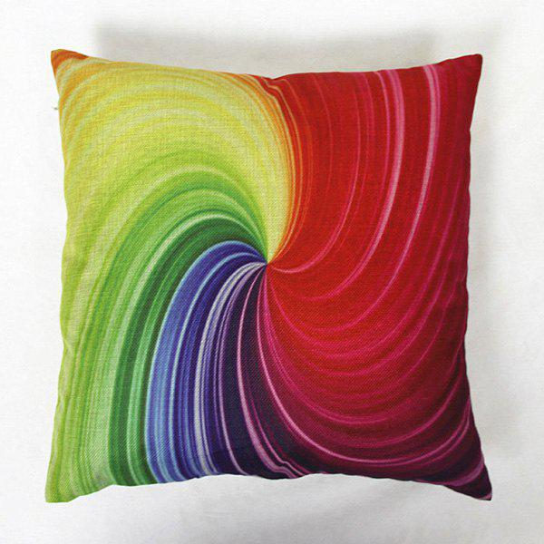 Modern Square Linen Vortex Pattern Decorative Pillowcase(Without Pillow Inner) - COLORMIX