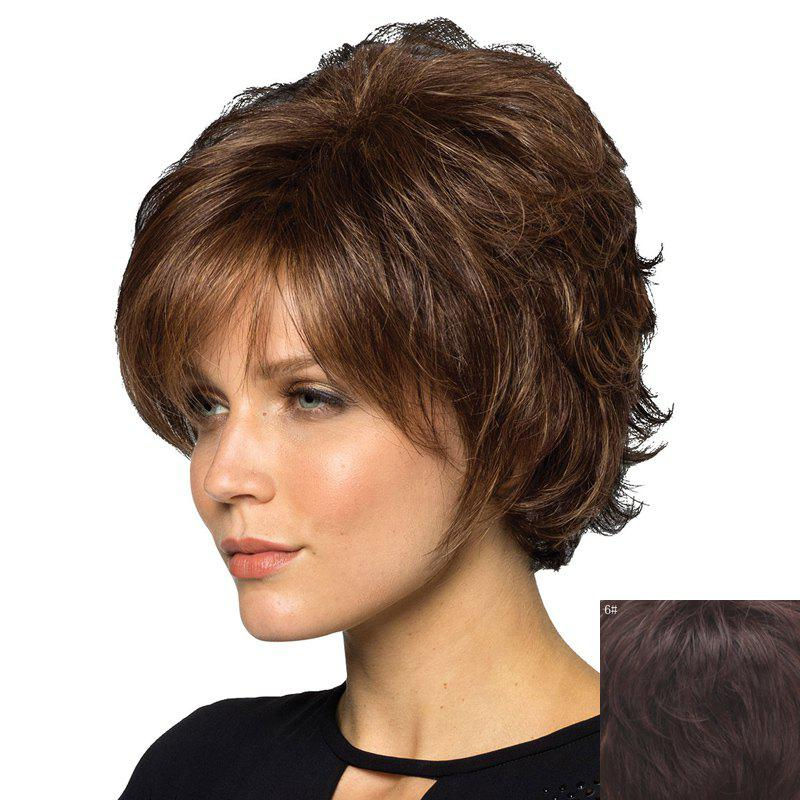 Shaggy Wave Graceful Short Trendy Side Bang Capless Women's Real Natural Hair Wig - BLACK BROWN MIXED