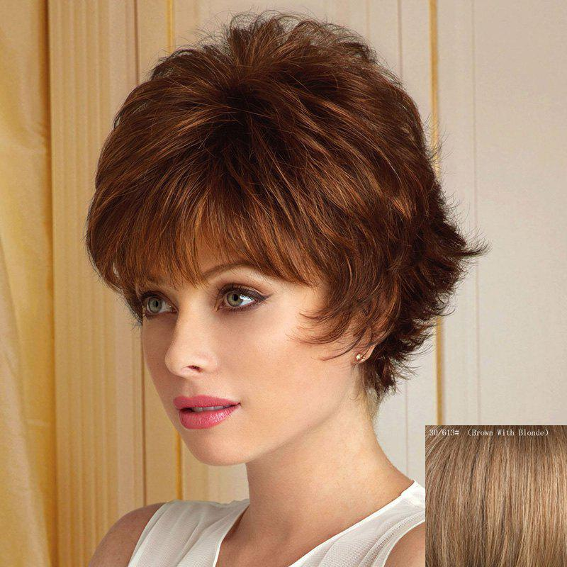 Spiffy Short Haircut Neat Bang Assorted Color Fluffy Wavy Capless Human Hair Wig For Women - BROWN/BLONDE