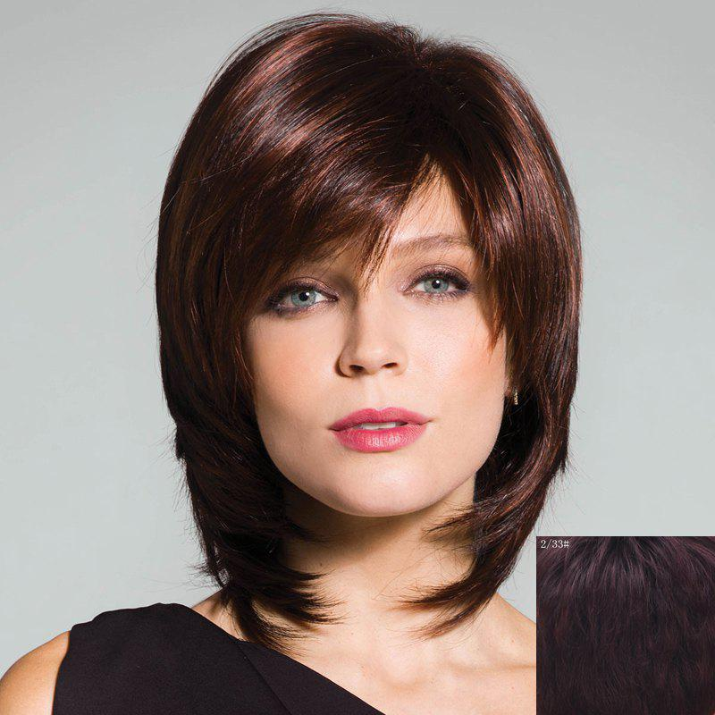 Layered Medium Capless Ladylike Shaggy Natural Straight Side Bang Human Hair Wig For Women