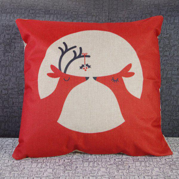 Delicate Christmas Deer Pattern Square Decorative Pillowcase(Without Pillow Inner) - COLORMIX