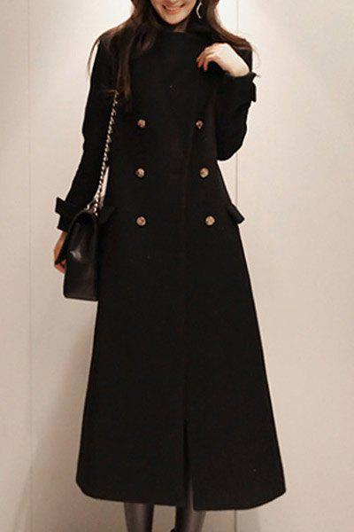 Fashionable Turn-Down Collar Long Sleeve Double-Breasted Maxi Coat For Women - XL BLACK