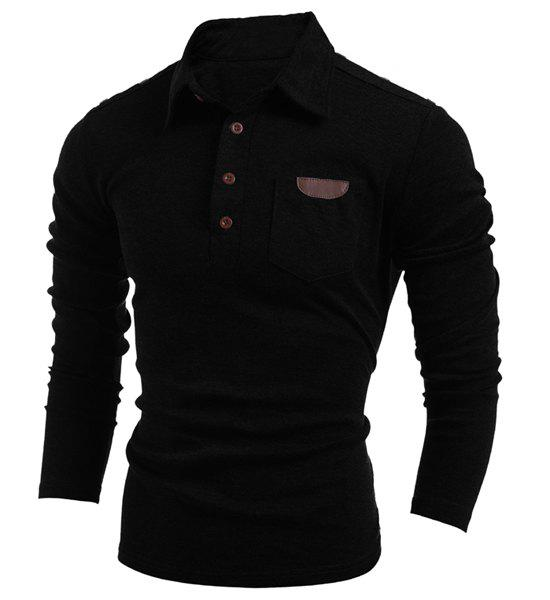 Button Embellished Turn-Down Collar Long Sleeve PU-Leather Splicing Men's T-Shirt - BLACK L