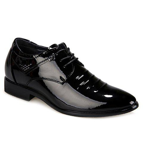 Fashion Black and Lace-Up Design Formal Shoes For Men - BLACK 38