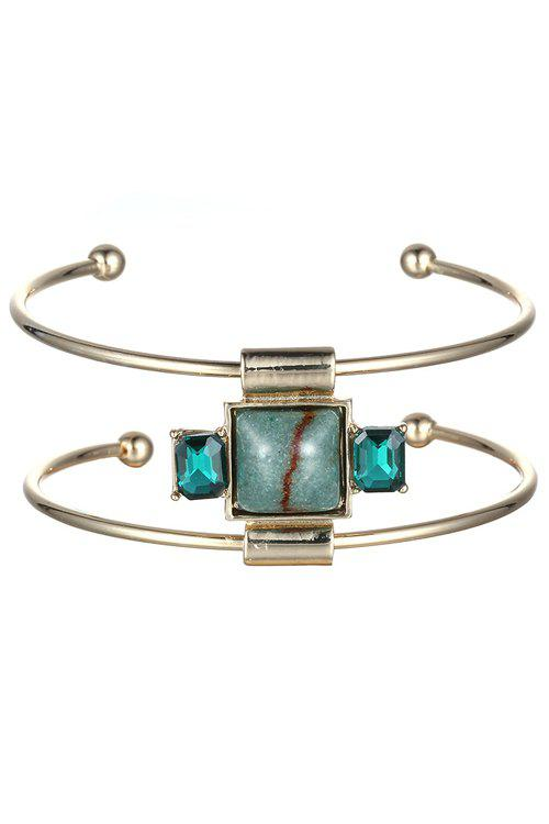 Square Faux Gemstone Double-Layered Cuff Bracelet - CHAMPAGNE GOLD