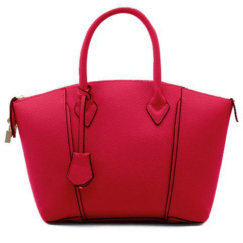 Elegant Pendant and Embossing Design Tote Bag For Women - RED