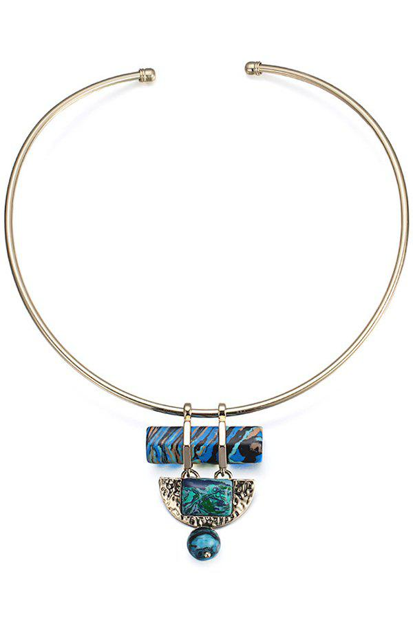 Colored Turquoise Semi-Circle Ball Torque For Women - GOLDEN