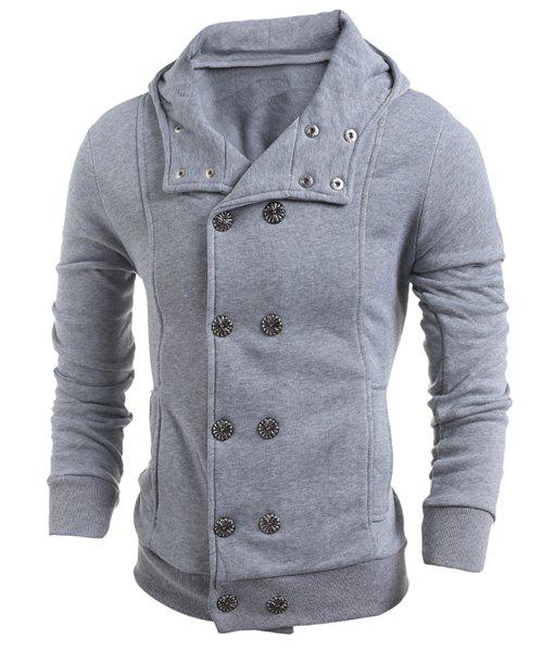 Double-Breasted Turn-Down Collar Long Sleeve Thicken Men's Jacket - LIGHT GRAY M