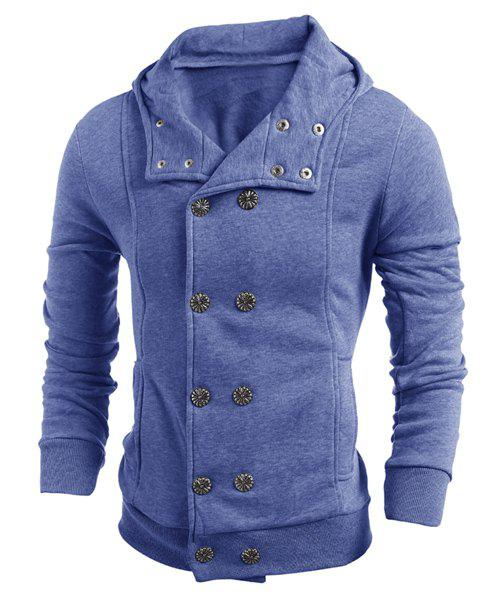 Double-Breasted Turn-Down Collar Long Sleeve Thicken Men's Jacket - BLUE XL