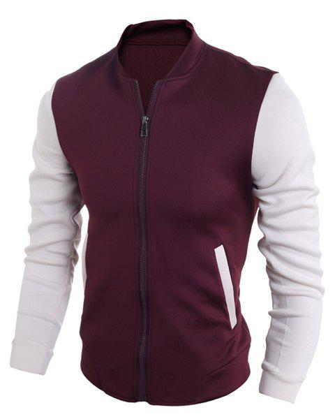 Color Block Splicing Stand Collar Long Sleeve Cotton Blends Men's Jacket -  WINE RED