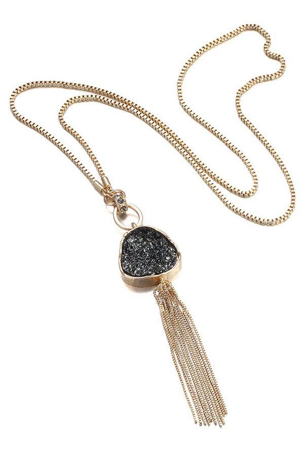 Chain Tassel Pendant Necklace For Women - BLACK / GLODEN