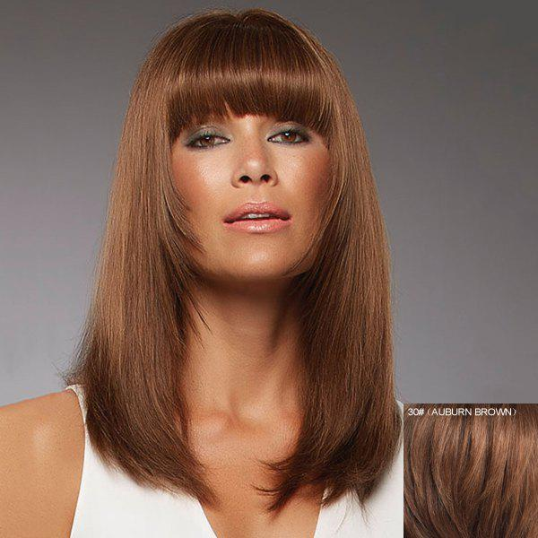 Fashion Straight Full Bang Outstanding Long Capless Human Hair Wig For Women - AUBURN BROWN
