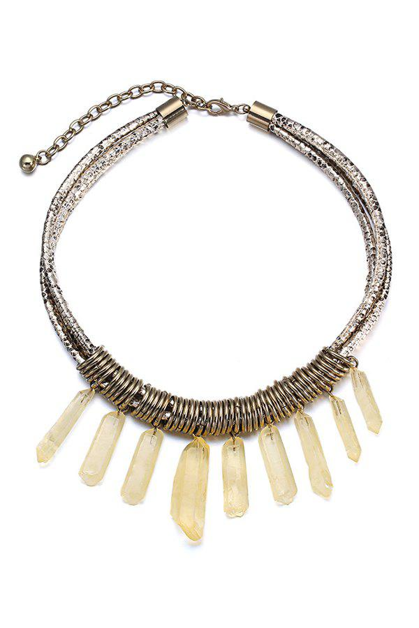 Resin Tassel Faux Leather Layered Necklace For Women - COPPER COLOR