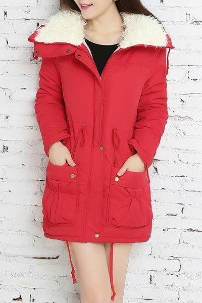 Endearing Thick Turn-Down Collar Drawstring Fleece Coat For Women - RED M