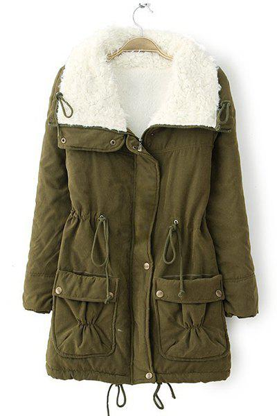 Endearing Thick Turn-Down Collar Drawstring Fleece Coat For Women - ARMY GREEN 2XL