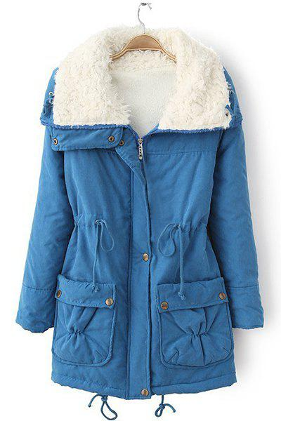 Endearing Thick Turn-Down Collar Drawstring Fleece Coat For Women - BLUE 2XL