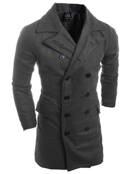 Double Breasted Turn-Down Collar Long Sleeve Lengthen Men's Woolen Peacoat - DEEP GRAY 2XL