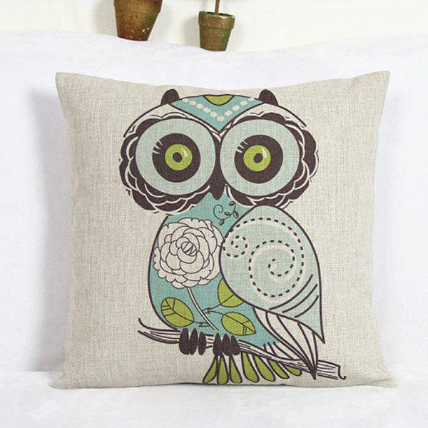 Fashion Square Owl Pattern Decorative Pillowcase(Without Pillow Inner) - COLORMIX