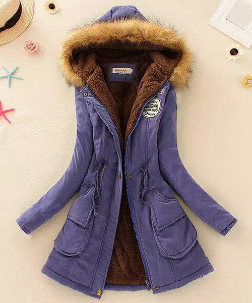 Preppy Style Faux Fur Hooded Drawstring Design Embroidered Fleece Coat For Women - PURPLE M