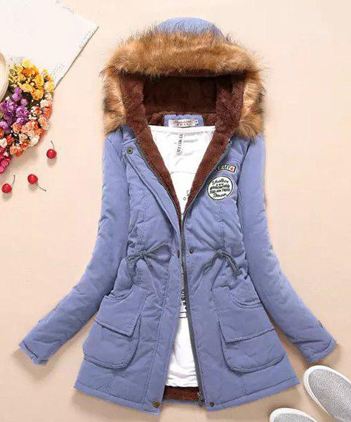 Preppy Style Faux Fur Hooded Drawstring Design Embroidered Fleece