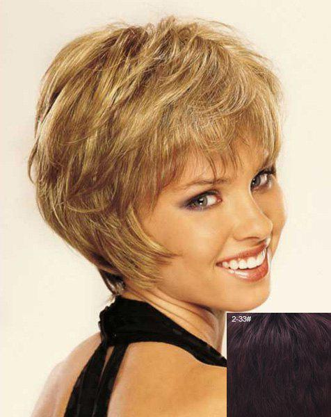 Stunning Side Bang Shaggy Wavy Stylish Short Capless Women's Real Natural Hair Wig - BROWN BLACK MIXED /