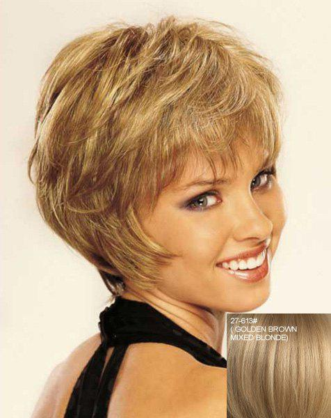 Stunning Side Bang Shaggy Wavy Stylish Short Capless Women's Real Natural Hair Wig - ASH BLONDE /