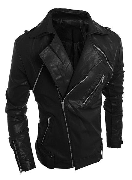 Zipper PU-Leather Turn-Down Collar Long Sleeve Vintage Men's Jacket - BLACK M