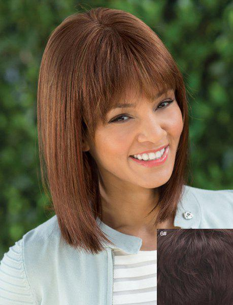 Charming Neat Bang Medium Elegant Silky Straight Capless Women's Real Human Hair Wig - BLACK BROWN MIXED